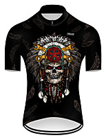 cheap -21Grams Men's Short Sleeve Cycling Jersey Nylon Polyester Black 3D Novelty Skull Bike Jersey Top Mountain Bike MTB Road Bike Cycling Breathable Quick Dry Ultraviolet Resistant Sports Clothing Apparel