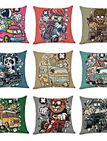 cheap -9 pcs Linen Pillow Cover Bus Casual Modern Square Traditional Classic