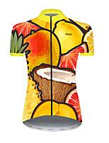 cheap -21Grams Women's Short Sleeve Cycling Jersey Nylon Polyester Orange Fruit Lemon Bike Jersey Top Mountain Bike MTB Road Bike Cycling Breathable Quick Dry Ultraviolet Resistant Sports Clothing Apparel