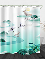 cheap -White Deer Background Digital Print Waterproof Fabric Shower Curtain for Bathroom Home Decor Covered Bathtub Curtains Liner Includes with Hooks