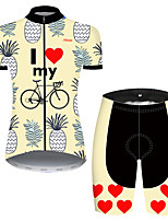 cheap -21Grams Women's Short Sleeve Cycling Jersey with Shorts Nylon Polyester Red / Yellow Heart Fruit Pineapple Bike Clothing Suit Breathable 3D Pad Quick Dry Ultraviolet Resistant Reflective Strips Sports