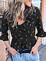 cheap -Women's Shirt Graphic Round Neck Tops Summer Black Red Green / Going out
