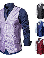 cheap -Plague Doctor Vintage Gothic Steampunk Masquerade Vest Waistcoat Men's Jacquard Costume Black / Red / Light Purple Vintage Cosplay Event / Party Sleeveless