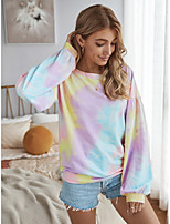 Недорогие -Жен. Блуза Узоры тай-дай Верхушки Круглый вырез Повседневные Желтый Розовый Серый S M L XL