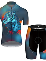 cheap -21Grams Men's Short Sleeve Cycling Jersey with Shorts Nylon Polyester Blue Gradient Animal Tiger Bike Clothing Suit Breathable 3D Pad Quick Dry Ultraviolet Resistant Reflective Strips Sports Gradient