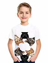 cheap -Animal Short Sleeve Graphic Tees Summer Tops Outfits for 6-14 Years Girls Boys