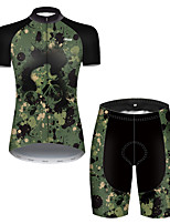 cheap -21Grams Women's Short Sleeve Cycling Jersey with Shorts Nylon Polyester Camouflage Polka Dot Patchwork Camo / Camouflage Bike Clothing Suit Breathable 3D Pad Quick Dry Ultraviolet Resistant