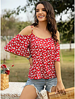 cheap -Women's Blouse Floral Tops - Print Boat Neck Daily Summer Blue Red Yellow S M L XL