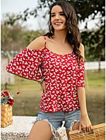 Недорогие -Жен. Блуза Цветочный принт Верхушки - С принтом Вырез лодочкой Повседневные Лето Синий Красный Желтый S M L XL