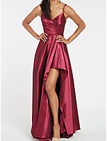 cheap -A-Line Elegant Beautiful Back Engagement Formal Evening Dress V Neck Sleeveless Asymmetrical Taffeta with Split 2020