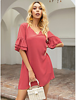 cheap -Women's A-Line Dress Short Mini Dress - Short Sleeves Solid Color Summer Casual 2020 Red XS S M L
