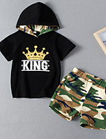 cheap -Kids Boys' Active Basic School Festival Print Print Short Sleeve Short Short Clothing Set Black