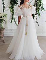 cheap -A-Line Elegant Floral Engagement Prom Dress Illusion Neck Short Sleeve Floor Length Tulle with Pleats 2020