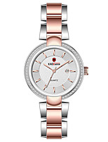 cheap -Women's Steel Band Watches Casual Elegant Stainless Steel Quartz Rose Gold Golden+White White Water Resistant / Waterproof Calendar / date / day Analog