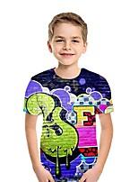cheap -Kids Boys' Street chic 3D Short Sleeve Tee Rainbow