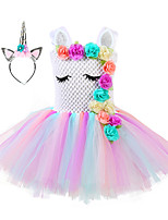 cheap -Princess Unicorn Flower Girl Dress Girls' Movie Cosplay A-Line Slip Golden / Silver Dress Headwear Christmas Halloween Children's Day Polyester