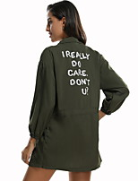 cheap -Women's Trench Coat Daily Regular Letter Green S / M / L