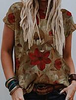 cheap -Women's T-shirt Floral Tops Round Neck Daily Summer Brown S M L XL 2XL 3XL
