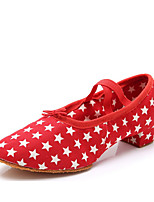 cheap -Women's Jazz Shoes Canvas Elastic Band Heel Thick Heel Customizable Dance Shoes Black / Red