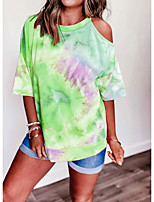 cheap -Women's T-shirt Tie Dye Round Neck Tops Summer Blue Purple Yellow