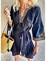 cheap -Women's A-Line Dress Short Mini Dress - 3/4 Length Sleeve Solid Color Summer Casual 2020 Navy Blue S M L XL