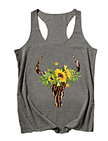 cheap -Women's Floral Tank Top Daily Black / Light gray / Dark Gray