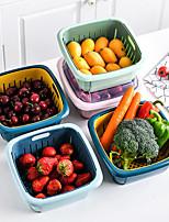 cheap -Multifunctional Double-layer Drain Basket Kitchen Strainer Vegetables Fruit Drain Storage Basket Refrigerator Fresh Box With Lid