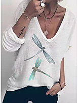 cheap -Women's T-shirt Animal Tops V Neck Daily Summer White S M L XL 2XL 3XL
