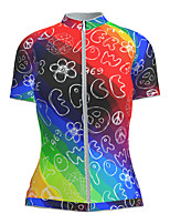 cheap -21Grams Women's Short Sleeve Cycling Jersey Nylon Polyester Red+Blue Gradient Peace & Love Bike Jersey Top Mountain Bike MTB Road Bike Cycling Breathable Quick Dry Ultraviolet Resistant Sports