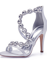 cheap -Women's Wedding Shoes Spring / Summer Stiletto Heel Open Toe Sexy Minimalism Roman Shoes Wedding Party & Evening Rhinestone / Crystal Solid Colored Satin White / Black / Purple