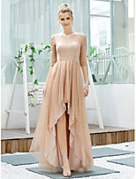 cheap -A-Line Glittering Minimalist Wedding Guest Cocktail Party Dress Jewel Neck Half Sleeve Asymmetrical Tulle with Sequin 2020