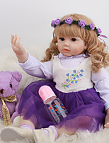 cheap -FeelWind 24 inch Reborn Doll Baby & Toddler Toy Reborn Toddler Doll Baby Girl Gift Cute Lovely Parent-Child Interaction Tipped and Sealed Nails 3/4 Silicone Limbs and Cotton Filled Body LV0100 with