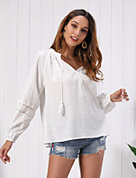 cheap -Women's Blouse Solid Colored Tops - Mesh Tassel Lantern Sleeve V Neck Cotton Basic Going out Fall Winter White S M L XL
