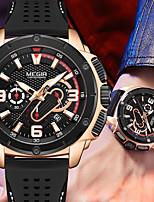 cheap -MEGIR Men's Sport Watch Quartz Sporty Silicone Black 30 m Water Resistant / Waterproof Calendar / date / day Chronograph Analog Casual - Black / Silver Black+Gloden Black One Year Battery Life