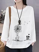 cheap -Women's T-shirt Geometric Tops Round Neck Loose Daily White Orange Royal Blue M L XL 2XL 3XL 4XL