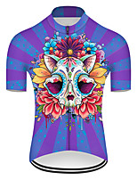 cheap -21Grams Men's Short Sleeve Cycling Jersey Nylon Polyester Red+Blue Novelty Skull Floral Botanical Bike Jersey Top Mountain Bike MTB Road Bike Cycling Breathable Quick Dry Ultraviolet Resistant Sports