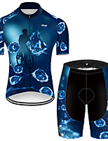 cheap -21Grams Men's Short Sleeve Cycling Jersey with Shorts Nylon Polyester Black / Blue 3D Gradient Bike Clothing Suit Breathable 3D Pad Quick Dry Ultraviolet Resistant Reflective Strips Sports 3D