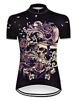 cheap -21Grams Women's Short Sleeve Cycling Jersey Nylon Polyester Black Novelty Skull Floral Botanical Bike Jersey Top Mountain Bike MTB Road Bike Cycling Breathable Quick Dry Ultraviolet Resistant Sports