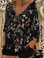 cheap -Women's T-shirt Floral Tops V Neck Daily Summer White Black Red S M L XL 2XL 3XL 4XL 5XL
