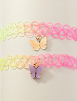 cheap -Women's Choker Necklace Necklace Classic Butterfly Rustic Elegant Trendy Fashion Chrome Rainbow 38 cm Necklace Jewelry 2pcs For Wedding Party Evening Street Beach Festival