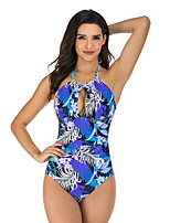 cheap -Women's Halter Keyhole One Piece Swimsuit Floral / Botanical Padded Swimwear Bodysuit Swimwear Blue Purple Black / Green Breathable Quick Dry Comfortable Sleeveless - Swimming Surfing Water Sports