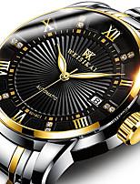 Недорогие -WEISIKAI Муж. Механические часы С автоподзаводом Современный Стильные Нержавеющая сталь Защита от влаги Календарь Фосфоресцирующий Аналоговый Классика На каждый день - Черный + Gloden Белый + Gold
