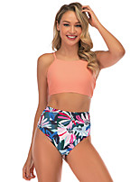 cheap -Women's Two Piece Swimsuit Elastane Swimwear Breathable Quick Dry Sleeveless Swimming Surfing Water Sports Summer / Stretchy