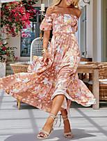 cheap -Women's Swing Dress Maxi long Dress - Half Sleeve Floral Summer Boho 2020 Blushing Pink S M L XL