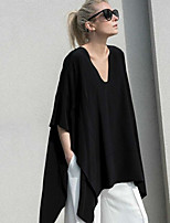 cheap -Women's T-shirt Solid Colored V Neck Tops Loose Black
