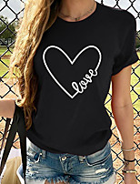 cheap -Women's T-shirt Graphic Round Neck Tops Summer Wine Black Red