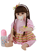 cheap -FeelWind 18 inch Reborn Doll Baby & Toddler Toy Reborn Toddler Doll Baby Girl Gift Cute Lovely Parent-Child Interaction Tipped and Sealed Nails 3/4 Silicone Limbs and Cotton Filled Body LV074 with
