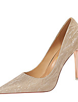 cheap -Women's Heels Fall / Winter Pumps Pointed Toe Sexy Party & Evening Sequin Solid Colored PU Champagne / Silver