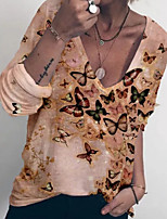 cheap -Women's T-shirt Graphic V Neck Tops Loose Light Brown