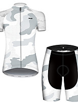 cheap -21Grams Women's Short Sleeve Cycling Jersey with Shorts Nylon Polyester Black / White Polka Dot Camo / Camouflage Bike Clothing Suit Breathable 3D Pad Quick Dry Ultraviolet Resistant Reflective Strips